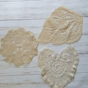 Lot of 3 vintage crocheted doilies